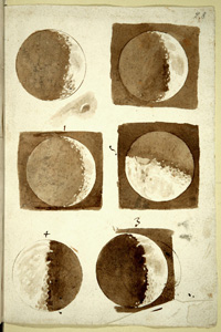 Moon Watercolors by Galileo Galilei