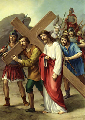 Station 5: Simon carries the cross
