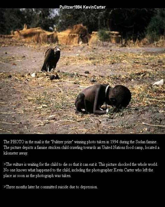 Vulture waiting for child to die - Pulitzer 1994 Kevin Carter